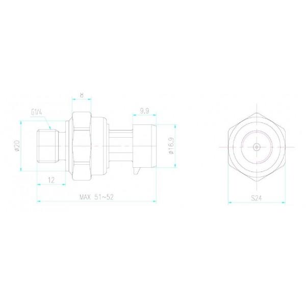 HK1100C Water Pressure Sensor - 0-12bar - G1/4