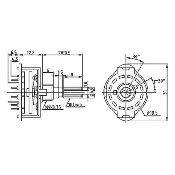 Rotary Switch - 3x4 Positions