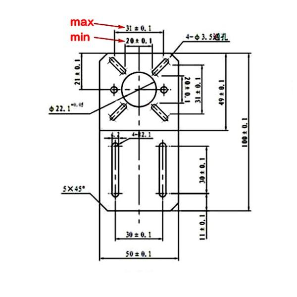Bracket for Stepper Motor Universal - 28-42mm - NEMA11-NEMA17 - Straight