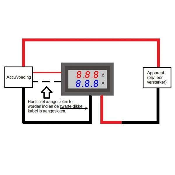 Stroom- en Spanningsmeter met segmenten display - 7-100VDC 10ADC