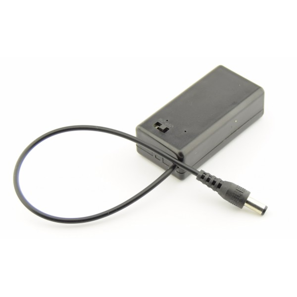 9V Battery box with DC jack and switch