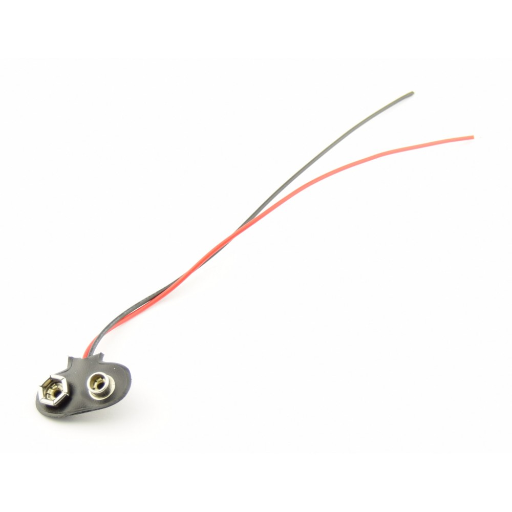 9V Battery clip with loose wires - 15cm - T-SOFT - 9V-T-SOFT