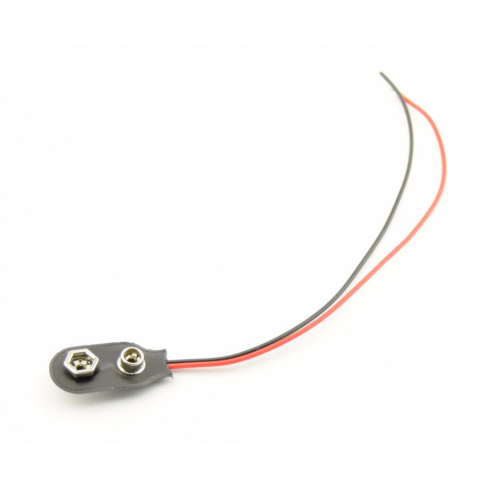 9V Battery clip with loose wires- 15cm - SOFT - 9VSOFT