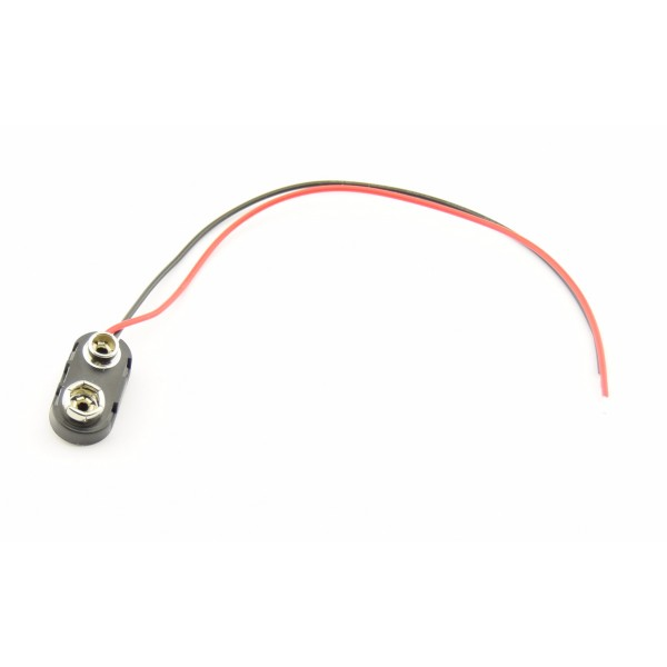 9V Battery clip with loose wires - 15cm - HARD