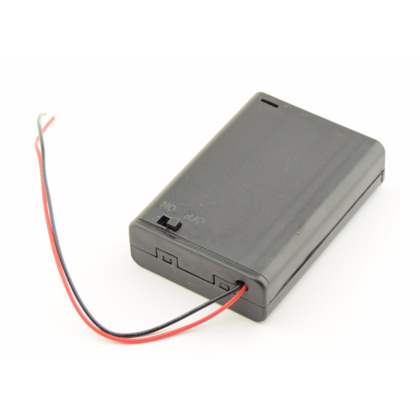 3x AA Battery box with loose wires and switch