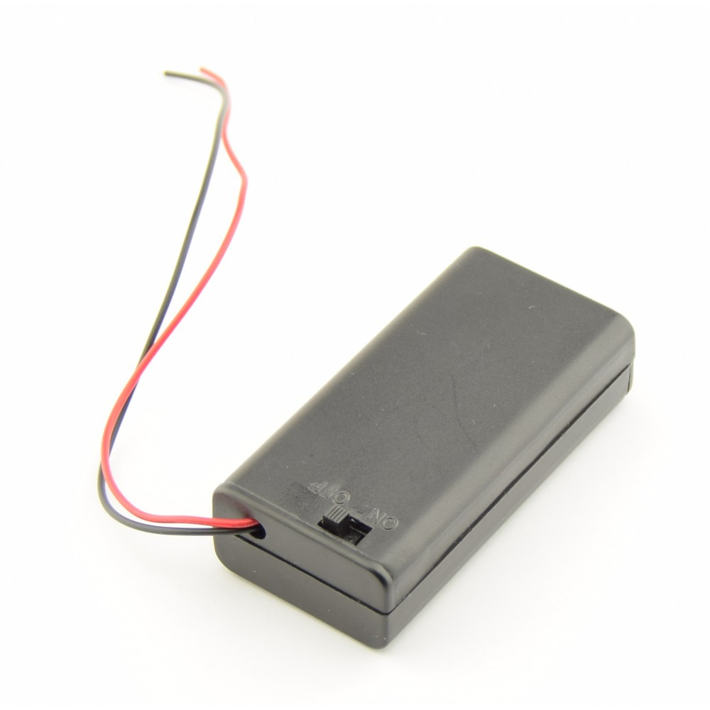 2x AA Battery box with loose wires and switch - 2xAALEADSBOXSWITCH
