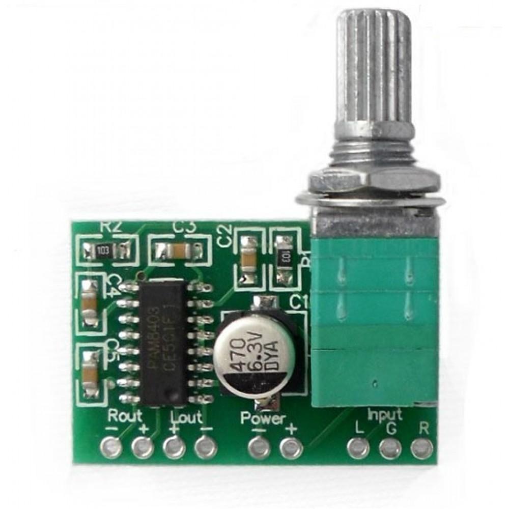 2x3W stereo audio amplifier mini 5V PAM8403 Volume control V2 - PAM8403VC2