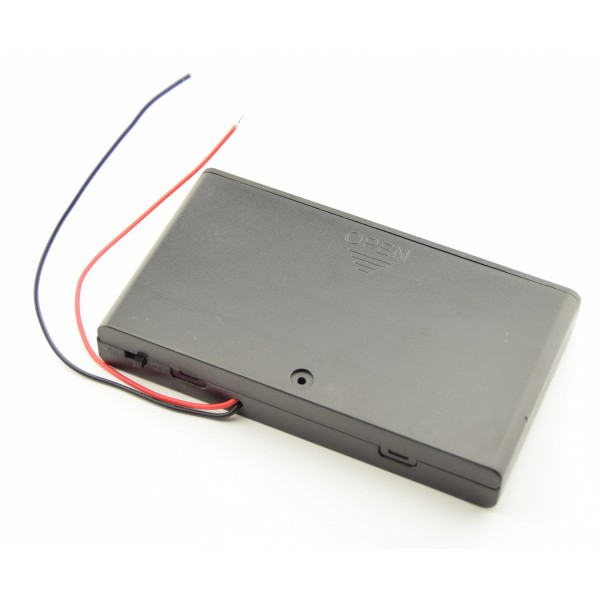 8x AA Battery box with loose wires and switch