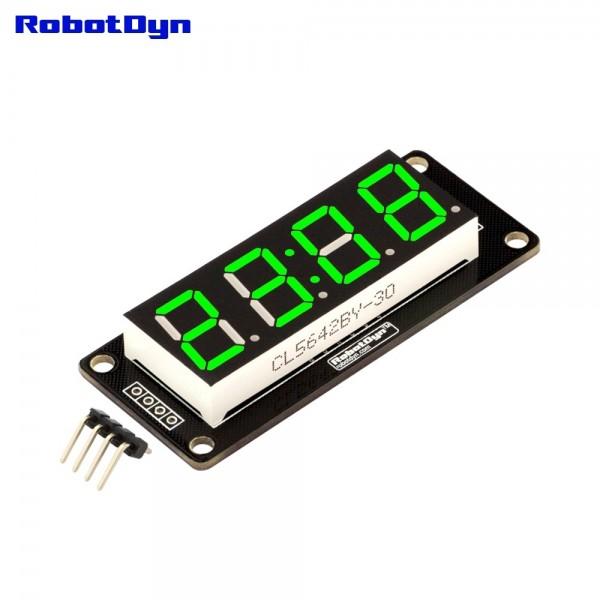RobotDyn Segment Display Module - 4 Character- Clock - Green - TM1637