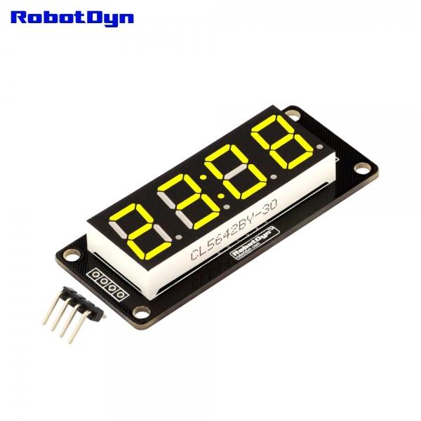 RobotDyn Segment Display Module - 4 Character- Clock - Yellow - TM1637