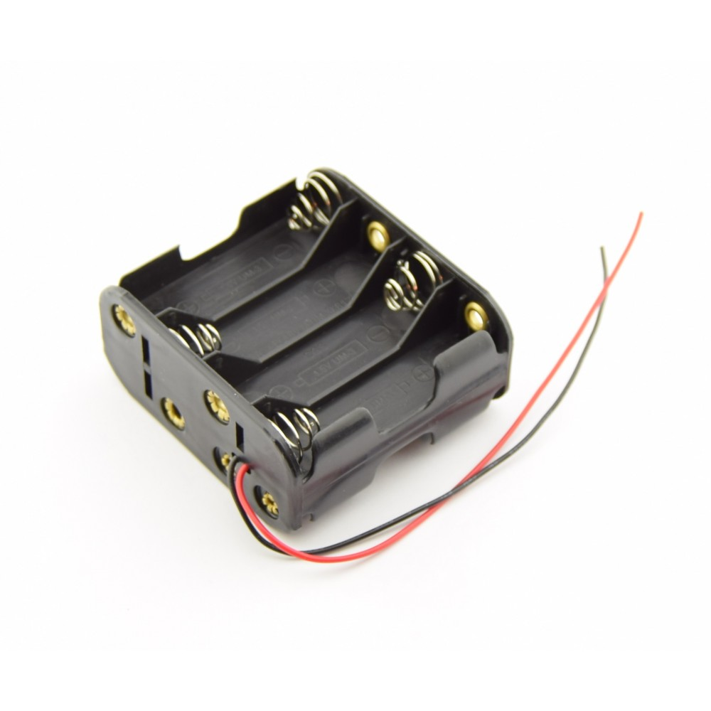 8x AA Battery holder with loose wires- Double - 8xAALEADSHOLDDBL Loose Wiring on