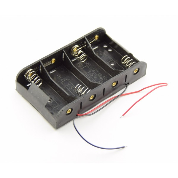 4x C Battery Holder with Loose Wires