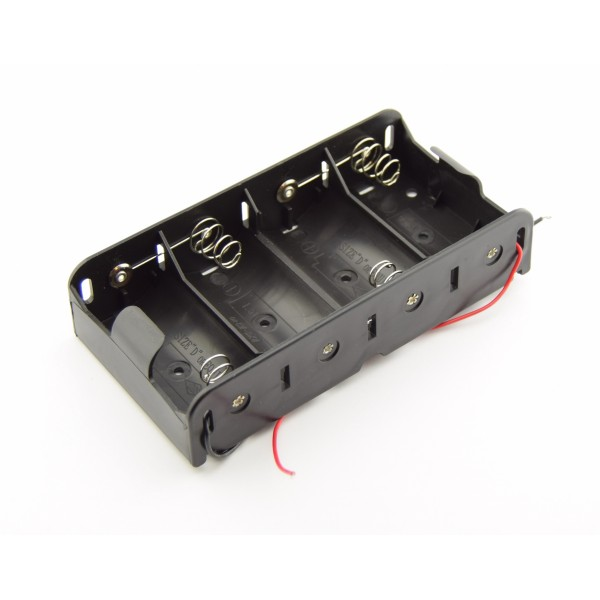 4x D Battery Holder with Loose Wires