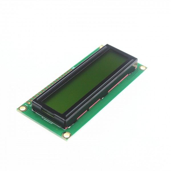 LCD Display 16*2 characters with black text and green-yellow backlight